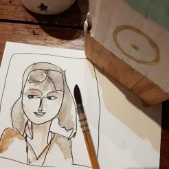 croquis aquarelle, carnet de voyage, portrait d'Angélique
