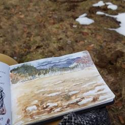 croquis aquarelle, carnet de voyage Vercors, à Bois-Barbu