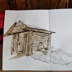 croquis aquarelle, carnet de voyage, la Grave, vue sur le glacier de la Meije, mazet