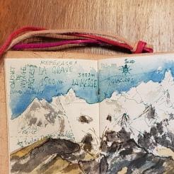 croquis aquarelle, carnet de voyage, la Grave, vue sur le glacier de la Meije