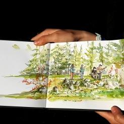 croquis aquarelle, carnet de voyage en Vercors, à Corrençon