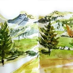 stage croquis aquarelle vercors drome autrans villards de lans aude berliner crea au mont dor stages carnet de voyage
