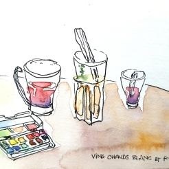croquis aquarelle, carnet de voyage Vercors, Bar le Samovar