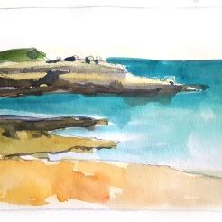 croquis aquarelle, carnet de voyage en Provence, la Côte Bleue