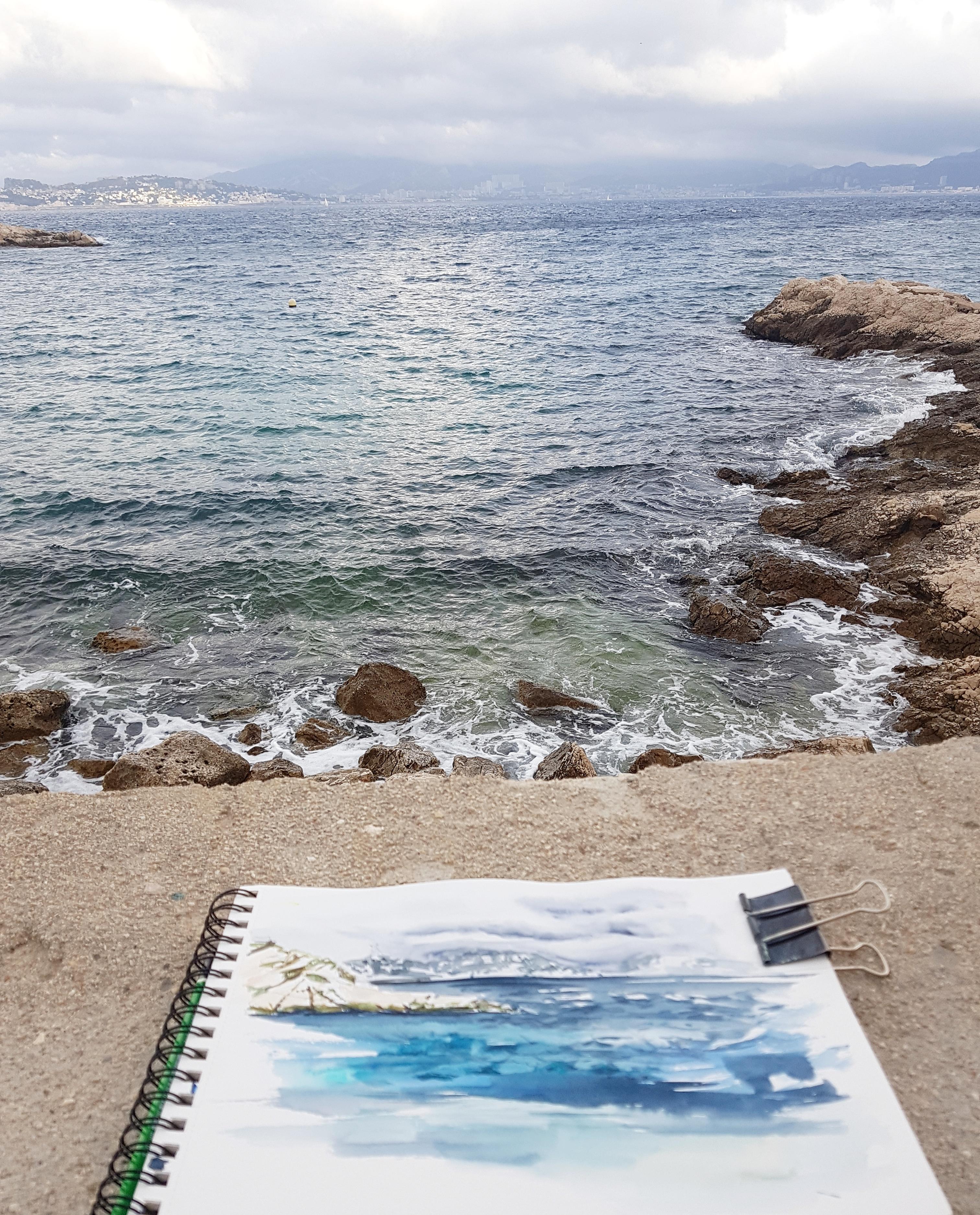 croquis aquarelle, carnet de voyage île du Frioul, Parc des Calanques de Marseille Aude Berliner Créa au Mont d'OR